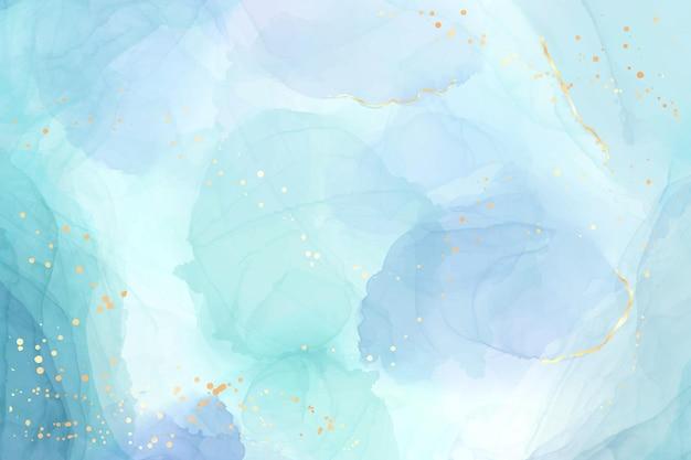 Abstracte turkoois en blauwgroen blauwe vloeibare gemarmerde aquarelachtergrond