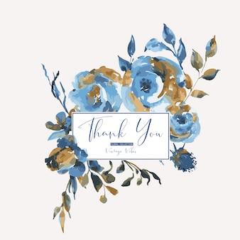 Abstracte turquoise rozen, wilde bloemen, vintage wenskaart. natuurlijke blauwe bloemenontwerpelementen