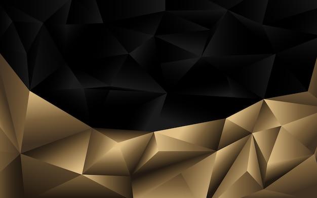 Abstracte twee toon zwarte en gouden veelhoekige sjabloon achtergrond