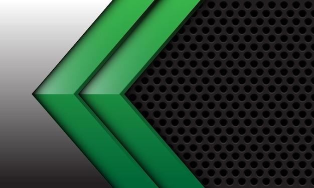 Abstracte tweeling groene pijl op zilver met donkergrijs cirkelnetwerkontwerp