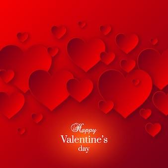 Abstracte valentijnsdag rode kleur met papier schaduw harten.
