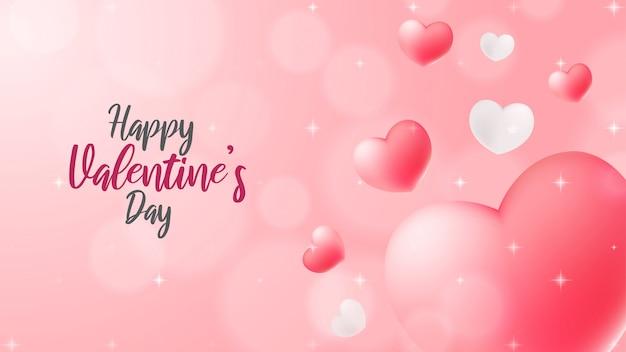 Abstracte valentijnskaartachtergrond met drijvende harten