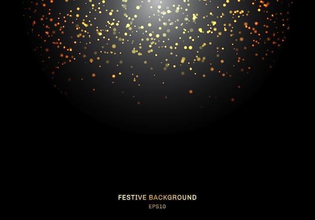Abstracte vallende gouden glitter licht een zwarte achtergrond