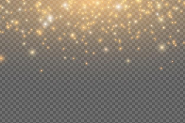 Abstracte vallende gouden lichten. magische gouden stof en schittering geïsoleerd op transparante achtergrond. feestelijke kerstverlichting. gouden regen.