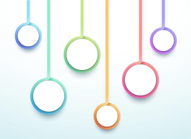 Abstracte vector 3d kleurrijke zes stap cirkels infographic