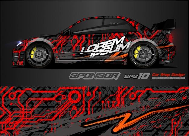 Abstracte vector als achtergrond voor het ontwerp en de voertuigkleuren van de raceautowrap