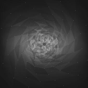 Abstracte vector mesh achtergrond. chaotisch verbonden punten en veelhoeken die in de ruimte vliegen. vliegend puin. futuristische technologie stijl kaart. lijnen, punten, cirkels en vliegtuigen. futuristisch ontwerp.