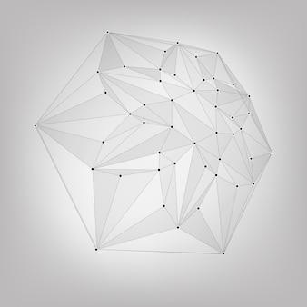 Abstracte vector mesh achtergrond. chaotisch verbonden punten en veelhoeken die in de ruimte vliegen. vliegend puin. futuristische technologie stijl kaart. lijnen, punten, vliegtuigen. futuristisch ontwerp. juweel, edelsteen.