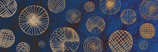 Abstracte vectorachtergrond, banner, cirkels van verschillende grootte en texturen