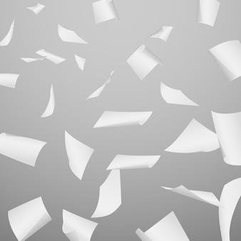 Abstracte vectorachtergrond met de vliegende, dalende, verspreide bladen van het bureau witboek, documenten