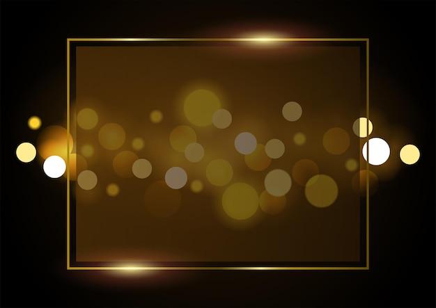 Abstracte vectorachtergrond van bokehlichten met gouden frame in eps10