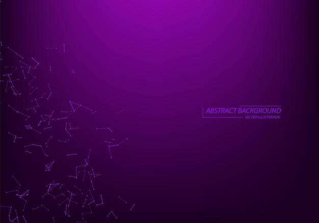 Abstracte vectordeeltjes en lijnen. plexus-effect. futuristische illustratie. veelhoekige cyberstructuur. gegevensverbindingsconcept. neonlichtachtergrond.