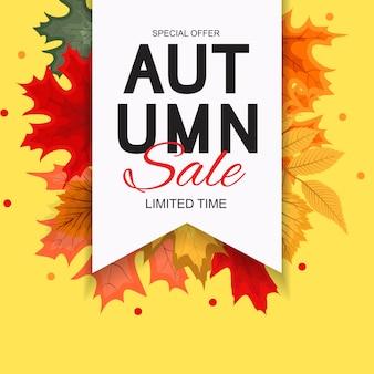 Abstracte vectorillustratie herfst verkoop achtergrond met vallende herfstbladeren