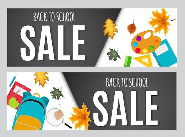 Abstracte vectorillustratie terug naar school verkoop achtergrond met vallende herfstbladeren