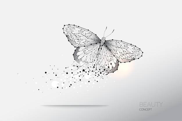 Abstracte vectorillustratie van vlinder het bewegen zich