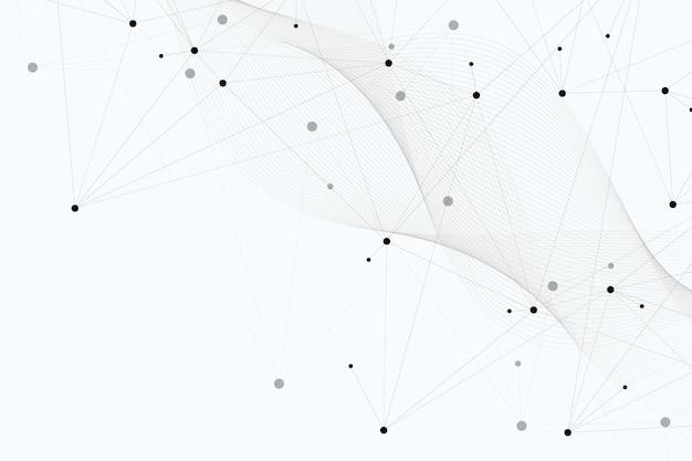 Abstracte veelhoekige achtergrond met aaneengesloten lijnen en punten. minimalistisch geometrisch patroon. molecuulstructuur en communicatie. grafische plexusachtergrond. wetenschap, geneeskunde, technologieconcept