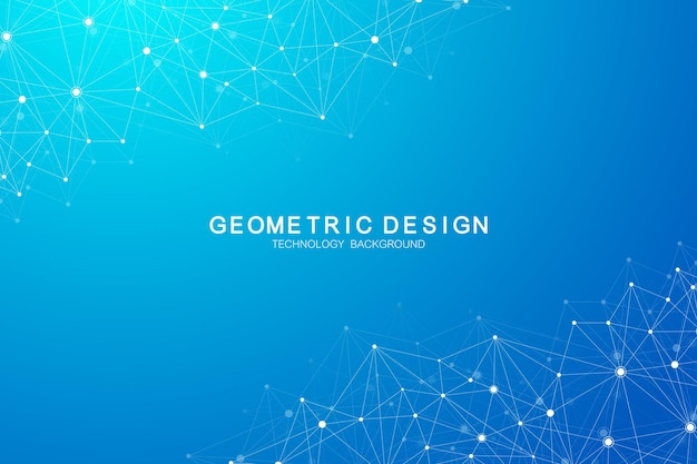 Abstracte veelhoekige achtergrond met aaneengesloten lijnen en punten. plexus structuur en communicatie achtergrond. grafische plexusachtergrond. wetenschap, geneeskunde, technologie concept.
