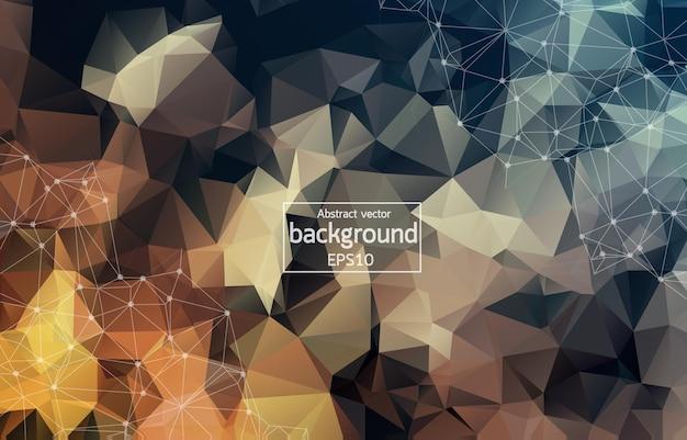 Abstracte veelhoekige donkerbruine achtergrond met verbonden stippen en lijnen, verbindingsstructuur, futuristische hud-achtergrond, vectorillustratie