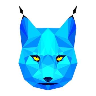 Abstracte veelhoekige geometrische driehoek helder blauw lynx portret geïsoleerd op een witte achtergrond voor gebruik in design