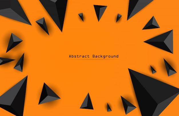 Abstracte veelhoekige geometrische driehoek op oranje