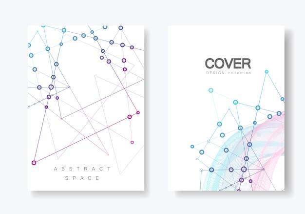 Abstracte veelhoekige geometrische vorm met molecuul structuur stijl cover set