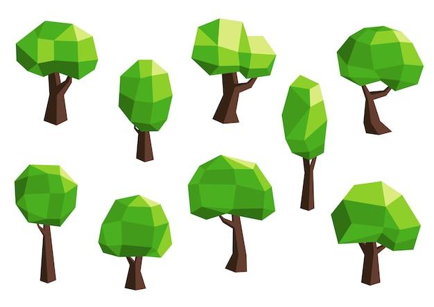 Abstracte veelhoekige groene boom-iconen set met afgeronde groene kronen