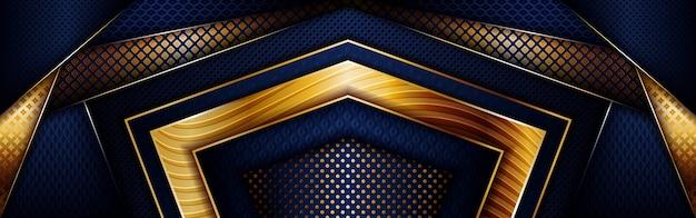 Abstracte veelhoekige luxe gouden lijn met donkere marineblauwe achtergrond
