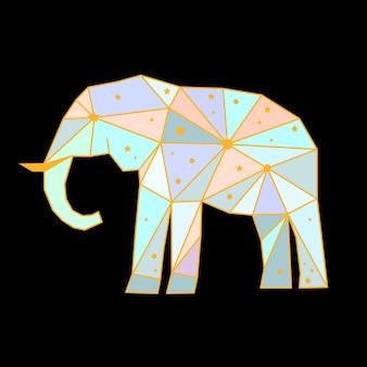 Abstracte veelhoekige olifant geïsoleerd op zwarte achtergrond. zijaanzicht. futuristische omslag geschilderd in denkbeeldige kleuren