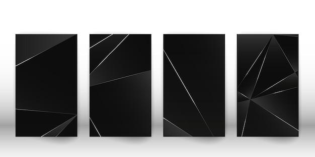 Abstracte veelhoekige patroon. luxe donker omslagontwerp met geometrische zilveren vormen. veelhoek voorbladsjabloon. vector illustratie.