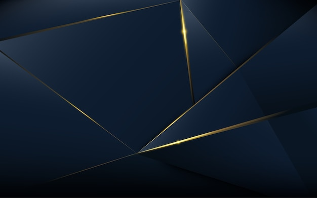 Abstracte veelhoekige patroonluxe donkerblauw met goud