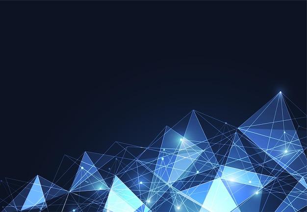 Abstracte veelhoekige ruimte achtergrond met aansluitende stippen en lijnen. vectorillustratie