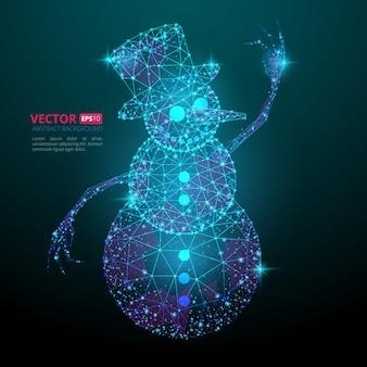 Abstracte veelhoekige sneeuwpop met textuur van sterrenhemel of ruimte universum. vectorillustratie bestaande uit veelhoeken, punten en lijnen geïsoleerd op donkerblauwe achtergrond
