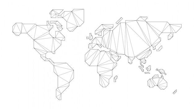 Abstracte veelhoekige wereldkaart