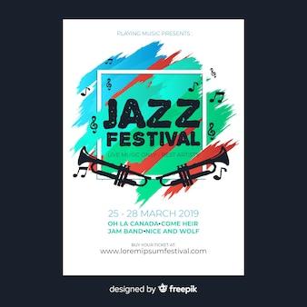 Abstracte verf muziek festival poster sjabloon