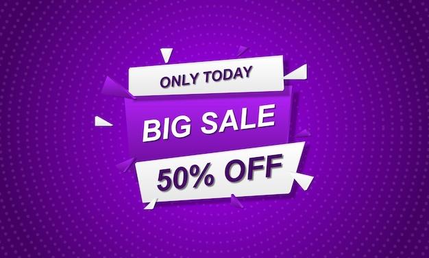 Abstracte verkoop banner achtergrond met paarse halftone stijl. vector illustratie.