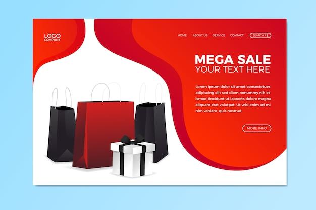 Abstracte verkoop bestemmingspagina met boodschappentassen