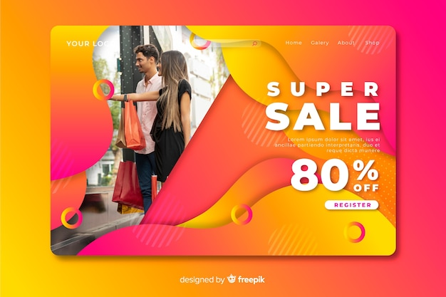 Abstracte verkoop bestemmingspagina met fotosjabloon