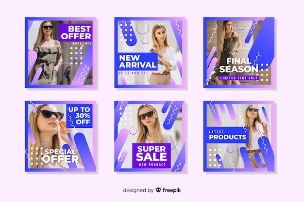 Abstracte verkoop instagram post die met afbeelding wordt geplaatst