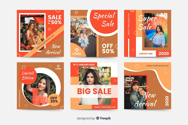 Abstracte verkoop instagram postinzameling met afbeelding