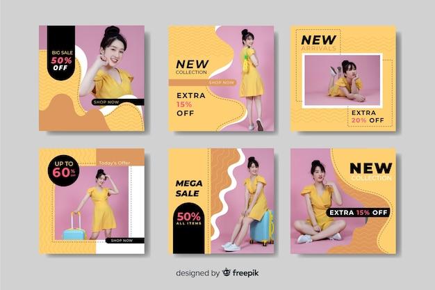 Abstracte verkoop instagram postinzameling met aziatisch model