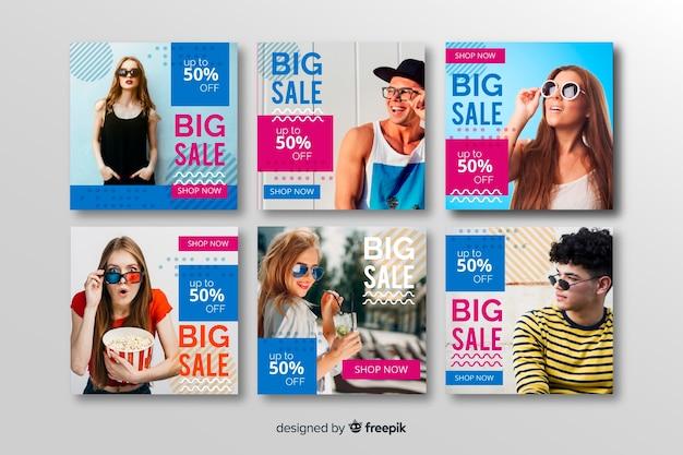 Abstracte verkoop instagram postinzameling met foto
