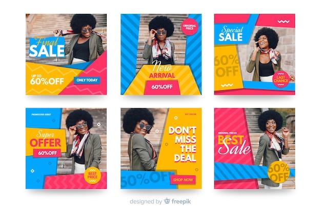 Abstracte verkoop instagram postverzameling