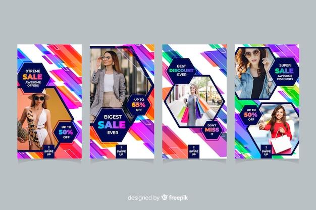 Abstracte verkoop instagram verhalen met foto