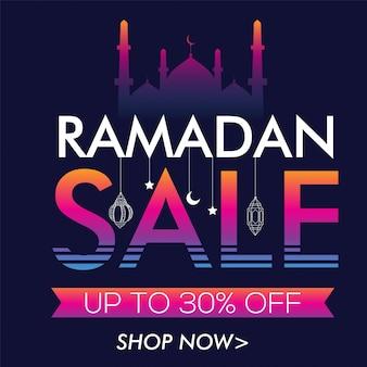 Abstracte verkoop lettering met hanglampen, creative poster, banner of flyer ontwerp voor islamitische heilige maand, ramadan kareem viering.