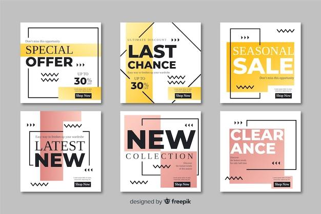 Abstracte verkoop promotie banners collectie