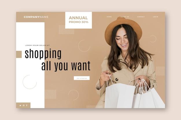 Abstracte verkooplandingspagina met afbeelding