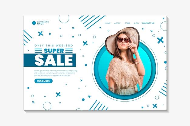 Abstracte verkooplandingspagina met foto