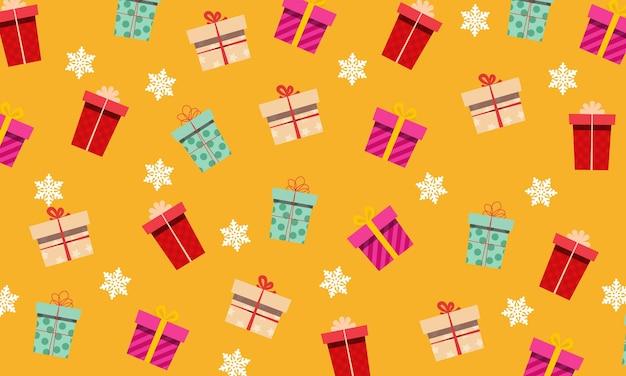 Abstracte verschillende geschenkdoos met sneeuwvlokken achtergrond. ontwerp voor cadeauverpakking.