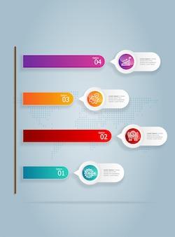 Abstracte verticale groei grafiek infographics 4 stappen met pictogrammalplaatje voor zaken en presentatie vector illustratie achtergrond