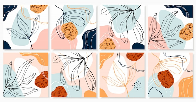 Abstracte verzameling achtergronden met eigentijds trendy design, decoratieve vormen en planten, pastelkleuren